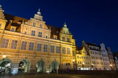 Green Gate in Gdansk at dusk. View of the historic Green Gate, the formal residence of Poland`s monarchs, and other old buildings at the Main Town Old Town in Royalty Free Stock Photography