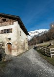 Maienfeld, GR / Switzerland - 25. December 2018: View of the historic home of Heid from the fictional story in the Swiss village o. A view of the historic home stock image
