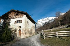 Maienfeld, GR / Switzerland - 25. December 2018: View of the historic home of Heid from the fictional story in the Swiss village o. A view of the historic home stock photo
