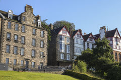 View on historic houses in Edinburgh stock images