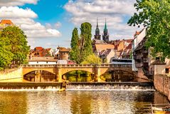 View on historic Architecture in Nuremberg, Germany. View on historic medieval Architecture and the river Pegnitz in Nuremberg, Germany royalty free stock image