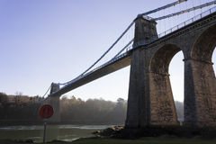 View of the historic Menai Suspension Bridge, Isle of Anglesey, Wales Royalty Free Stock Photography