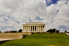 View of the historic neoclassical temple, the Lincoln Memorial, National Mall, Washington DC. Grand view westwards up the ceremonial approach towards the Royalty Free Stock Photography
