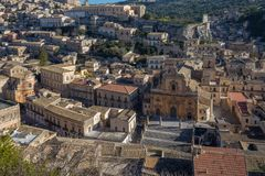 View of the historic old town of Modica in Sicily. View of the historic old town of Modica, Sicily, Italy Stock Photo