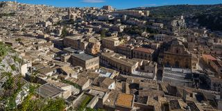 View of the historic old town of Modica in Sicily. View of the historic old town of Modica on Sicily, Italy Stock Photography