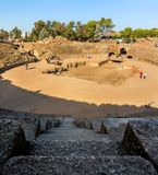 View of the historic ruins of Roman Amphiteater of Merida royalty free stock images