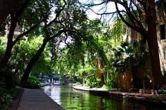 View of the historic San Antonio River Walk in downtown San Antonio, Texas stock photos