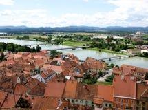 View at a historic Slovenian city Stock Photos