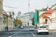 View historic Solyanka street in Moscow Stock Images