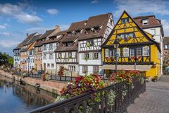 Historic town of Colmar, also known as Little Venice, with traditional colorful houses near by the river Lauch, Colmar, France. stock images