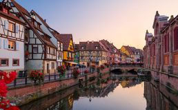 View of the historic town of Colmar, also known as Little Venice. Amazing traditional colorful houses located on idyllic river Lauch, Colmar, Alsace, France Stock Photography