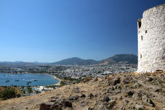 View from the historic windmills to Bodrum-Guembet - a famous li stock images