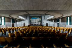 Historic Theater Seats Looking to Stage - Abandoned Theater Royalty Free Stock Image