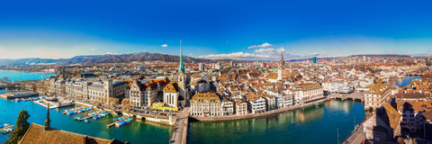 View of historic Zurich city center with famous Fraumunster Chur stock photography