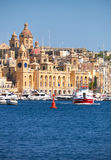 The view of historical buildings of Birgu, Malta. Stock Images