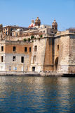 The view of historical buildings of Senglea with Sheer Bastion a Royalty Free Stock Photography