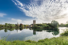 View of the historical castle and spectacular lake of the Garden Royalty Free Stock Image