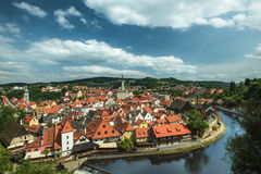 View on historical center of Cesky Krumlov. Europe royalty free stock image