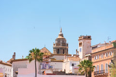 View of the historical center and the church of Sant Bartomeu and Santa Tecla in Sitges, Barcelona, Catalunya, Spain. Royalty Free Stock Photography