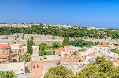 View of the historical center of Old Town. Rhodes.  Greece Stock Images