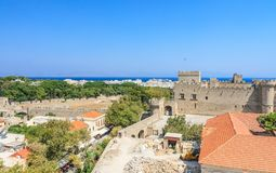 View of the historical center of Old Town. Rhodes.  Greece Royalty Free Stock Photos