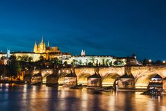 Historical center of Prague. View of historical center of Prague during beautiful sunset with castle, Hradcany, Czech Republic stock images