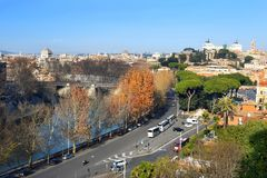 View of the of Rome from the height of the Aventine Hill. View of the historical center of Rome from the height of the Aventine Hill, is one of the best royalty free stock photography