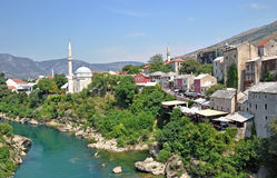 View of the historical centre of the old town Mostar Stock Image