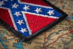 Historical flag of the south of the United States on the background of the USA map. View of the Historical flag of the south of the United States on the Royalty Free Stock Image