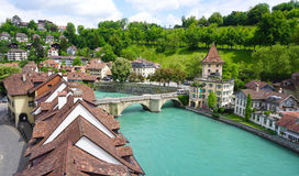 View of historical old town city and river Stock Photography