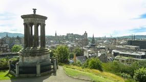 Lovely view of Edinbourgh city from Calton hill, Scotland stock images