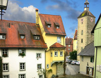 View of the historical part of Lindau. View of the historical part of Lindau and ancient tower of the Church of St. Peter. Bavaria, Germany Stock Photo