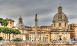 View of the historical part of Rome. View of the Church of the Most Holy Name of Mary Stock Photography