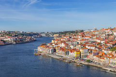 View of the historical Ribeira District and Douro River Stock Photos