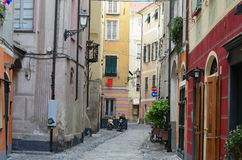 View of the historical streets of the town of Finalborgo, Liguri Royalty Free Stock Photos