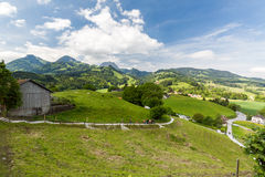 View of the historical town Gruyeres in Switzerland Stock Images