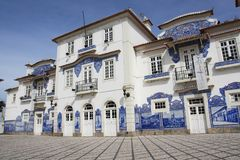 Historic train station building. View of the historical train station building featuring the famous azulejo tiles on the walls in Aveiro-Portugal Royalty Free Stock Photo