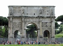 View of historical Triumphal Arch of Constantine stock photos