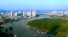 View of Ho Chi Minh City from Bitexco financial tower. Stock Photos