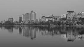 View of Hoan Kiem lake in Hanoi downtown Stock Image