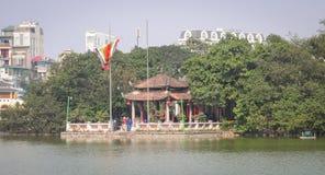 View of Hoan Kiem lake in Hanoi downtown Royalty Free Stock Photos
