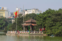 View of Hoan Kiem lake in Hanoi downtown Royalty Free Stock Photography