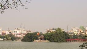 View of Hoan Kiem lake in Hanoi downtown Stock Photography