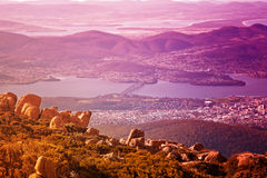 View of Hobart city, Mount Wellington. View of Hobart city from the top of Mount Wellington, Tasmania Royalty Free Stock Image