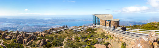 View of Hobart from Kunanyi / Mount Wellington. Stock Photo