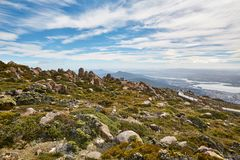 Hobart from above. View of Hobart from Mount Wellington Stock Photo