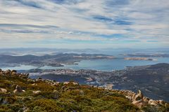 Hobart from above. View of Hobart from Mount Wellington Stock Photography
