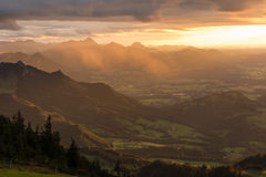 View from Hochries during Sunset Royalty Free Stock Images