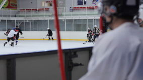 View of the hockey game with the bench Stock Images