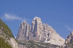 Three pinnacles seen from Landro. View from Hoehlenstein to the massif of the Three Peaks, here the peaks of the Great and Western Pinnacles Royalty Free Stock Images